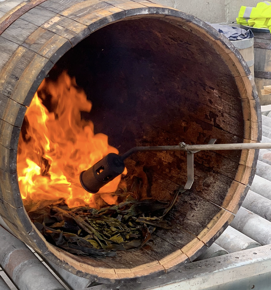 Virgin Oak cask charred with Kombu